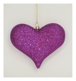 Premier Ornaments 5311465 Purple Glittered Heart Ornamant