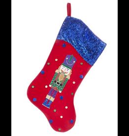 Kurt Adler Red Velvet w Sequin Cuff Nutcracker Christmas Stocking Blue