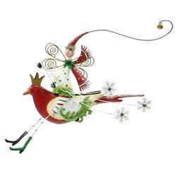 Mark Roberts Christmas Decorations Festive Fairy on Bird Ornament-Red