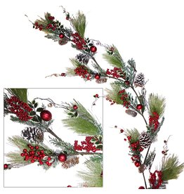 Darice Christmas Garland 72 Inch Long Needle-Cones-Red Bell Ornaments