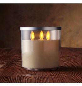 Luminara Flameless Candle Tri Wick in Acrylic Jar-4D Inch-Ivory