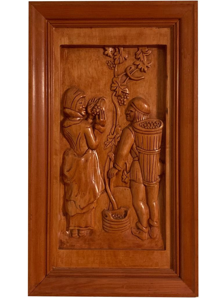 Digs Hand Carved Wood Panels w Wine Scenes SET of 8
