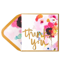 PAPYRUS® Thank You Card Foil Watercolor Flowers with Gems