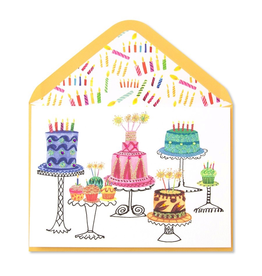 PAPYRUSR Birthday Cards Cakes W Gems On Stands