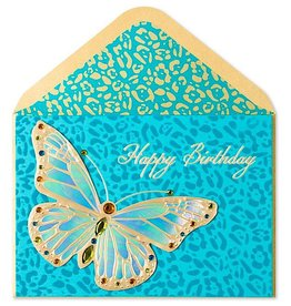 PAPYRUS® Birthday Cards Teal Animal Print w Gold Butterfly