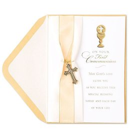 PAPYRUS® Communion Cards Ribbon w Cross Charm 1st Communion