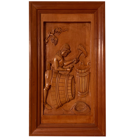 Digs Hand Carved Wood Panel w Wine Scene 2