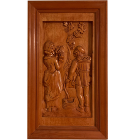 Digs Hand Carved Wood Panel w Wine Scene 3