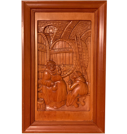 Digs Hand Carved Wood Panel w Wine Scene 6