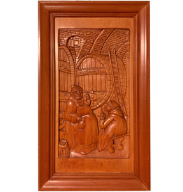 Digs Hand Carved Wood Panel w Wine Scene 7