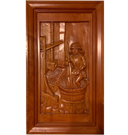 Digs Hand Carved Wood Panel w Wine Scene 4