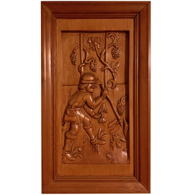 Digs Hand Carved Wood Panel w Wine Scene 1