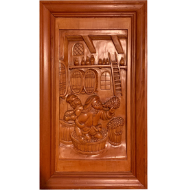 Digs Hand Carved Wood Panel w Wine Scene 5