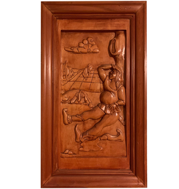 Digs Hand Carved Wood Panel w Wine Scene 8
