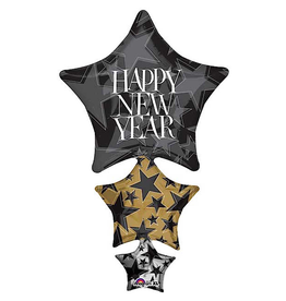 Burton and Burton Happy New Year Balloon 42 inch Stacked Stars