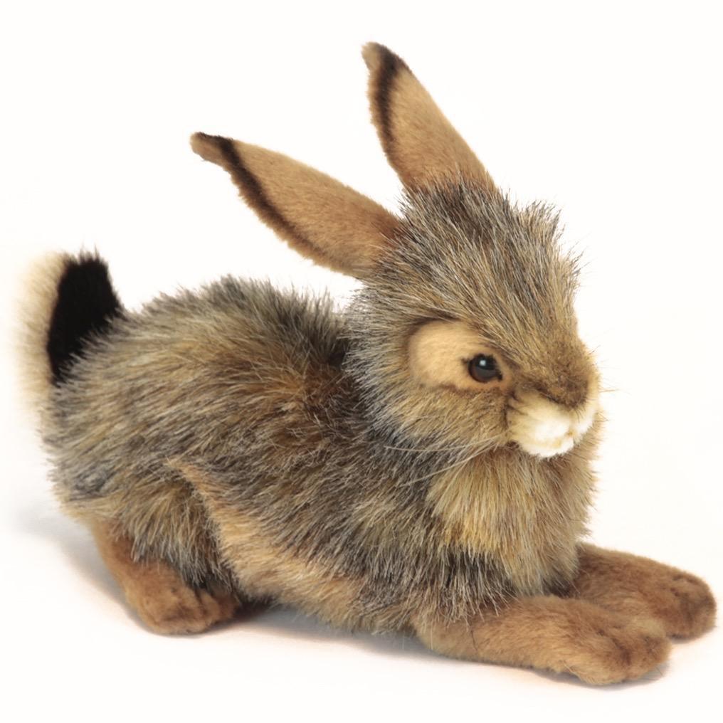 Hansa Toy Plush Bunny Rabbit Sitting Black Tailed Crouched 10 inch