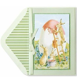 PAPYRUS® Easter Card Rabbits Painting Egg