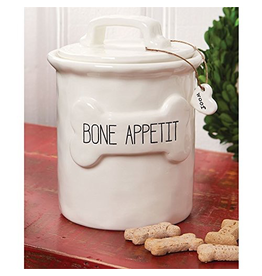Mud Pie Bone Appetit Dog Treat Canister Molded Ceramic