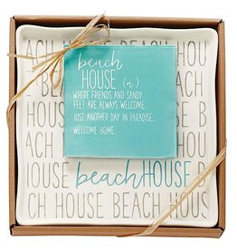 Mud Pie Beach House Boxed Plate With Beach House Definition Napkins Set