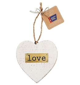 Mud Pie Love Wooden Heart American Cancer Society Ornament