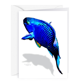 By The Seas-N Greetings Blank Note Card - Cash - Gift Card Holder - Blue Parrot Fish II