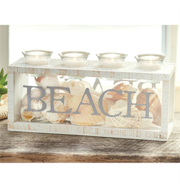 Mud Pie BEACH 4 Votive and Sea Shells Display Candle Box