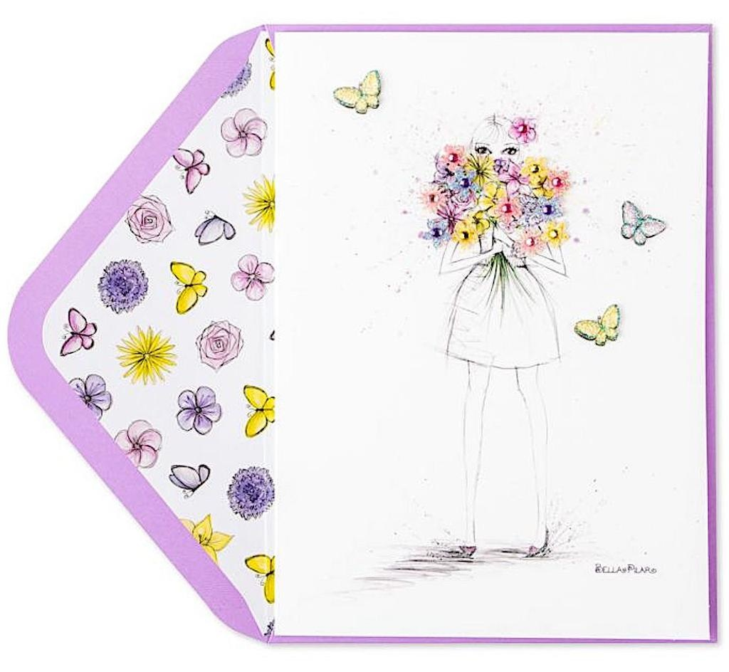 PAPYRUS® Mothers Day Cards Pretty As Butterflies Bella Pilar Fashion Gal w Bouquet
