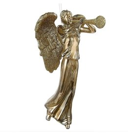 Kurt Adler Glittered Gold Angel Playing Trumpet Christmas Ornament H2784 Kurt Adler