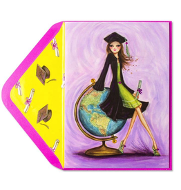 PAPYRUS® Graduation Card Bella Girl with Globe
