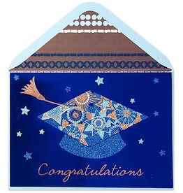 PAPYRUS® Graduation Cards Multi Glitter Grad Cap On Blue