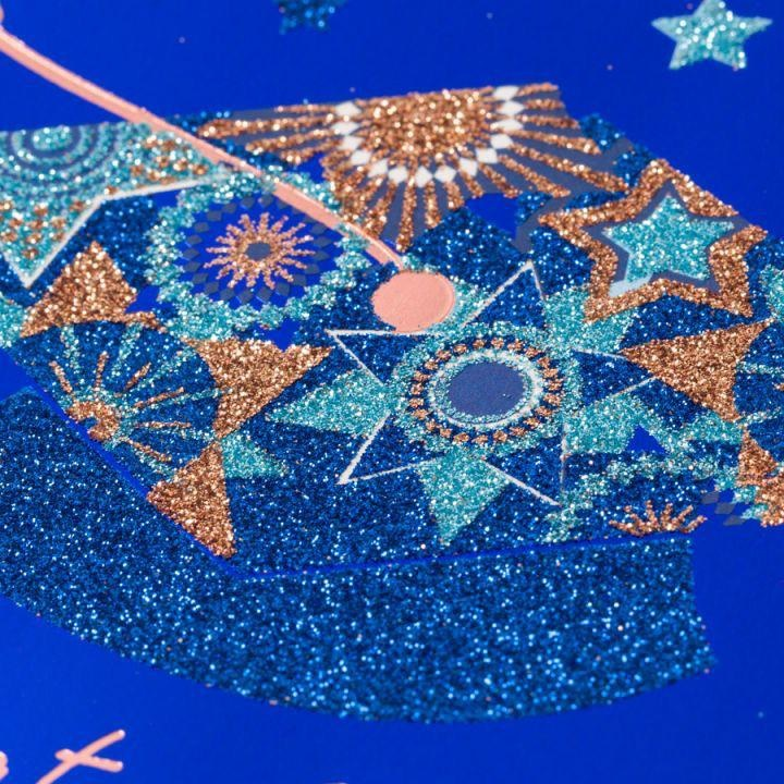 PAPYRUS® Graduation Cards Multi Glitter Grad Cap On Blue