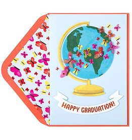 PAPYRUS® Graduation Cards Globe With Butterflies