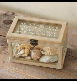 Mud Pie Beach Sea Shells Shadow Box w Shell In Your Pocket Sentiment