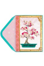 PAPYRUS® Mothers Day Cards Embroidered Pink Blossoms Bonsai
