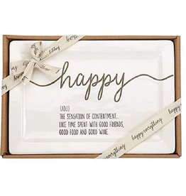 Mud Pie Ceramic Happy Definition Plate Gift Boxed 10.5x7.25 inches