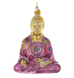 Kurt Adler Christmas Ornament Oriental Asian Glass Buddha -Purple