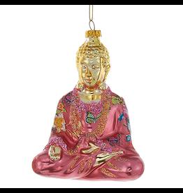 Kurt Adler Christmas Ornament Oriental Asian Glass Buddha -Pink