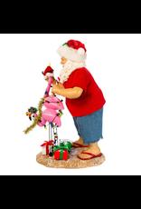 Kurt Adler Fabriche Beach Santa With Flamingos Table-piece