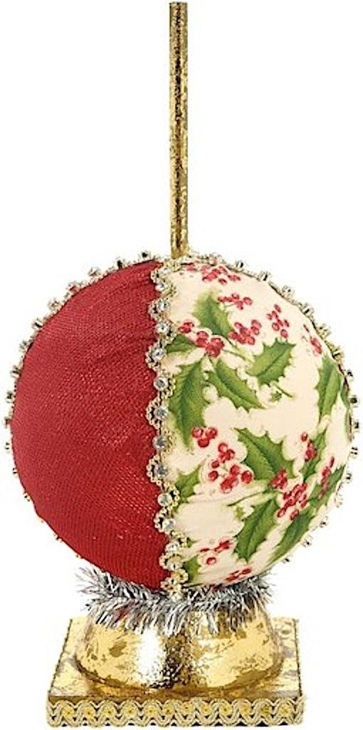 Mark Roberts Fairies Ornamental Ball Stand 7 inch Red-Holly