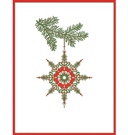 Caspari Boxed Christmas Cards Star Ornament Embossed Set of 10