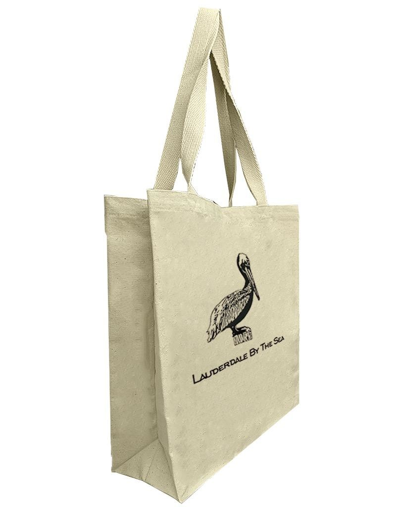 Digs Lauderdale By The Sea Cotton Canvas Tote Bag - Pelican