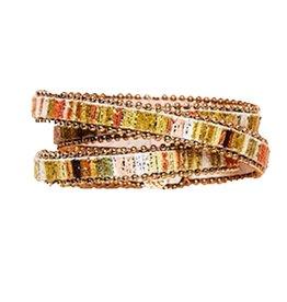 Twos Company Beaded Trim Wrap Snap Closure Bracelet by 2 Chic 11544-F