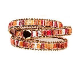 Twos Company Beaded Trim Wrap Snap Closure Bracelet by 2 Chic 11544-G