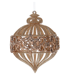 Kurt Adler Champagne-Rose Gold Glittered Onion Shaped Ornament