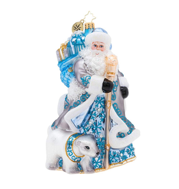 Christopher Radko Silver Lining Santa Christmas Ornament