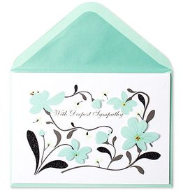 PAPYRUS® Sympathy Card Black And Mint Paper Sculpted Flowers