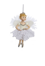 Kurt Adler Ballerina Angel Christmas Ornament White Silver Tutu -B
