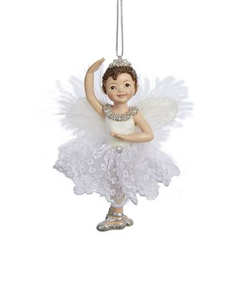 Kurt Adler Ballerina Angel Christmas Ornament White Silver Tutu -C