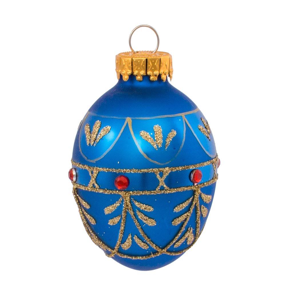 Kurt Adler Glass Decorative Egg Ornaments 45mm Set of 9