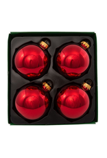 Kurt Adler Christmas Ball Ornaments 80MM Set 4 Shinny Red Glass